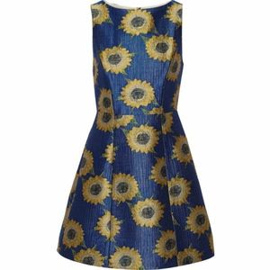 Alice + Olivia Blue Epstein Jacquard Dress